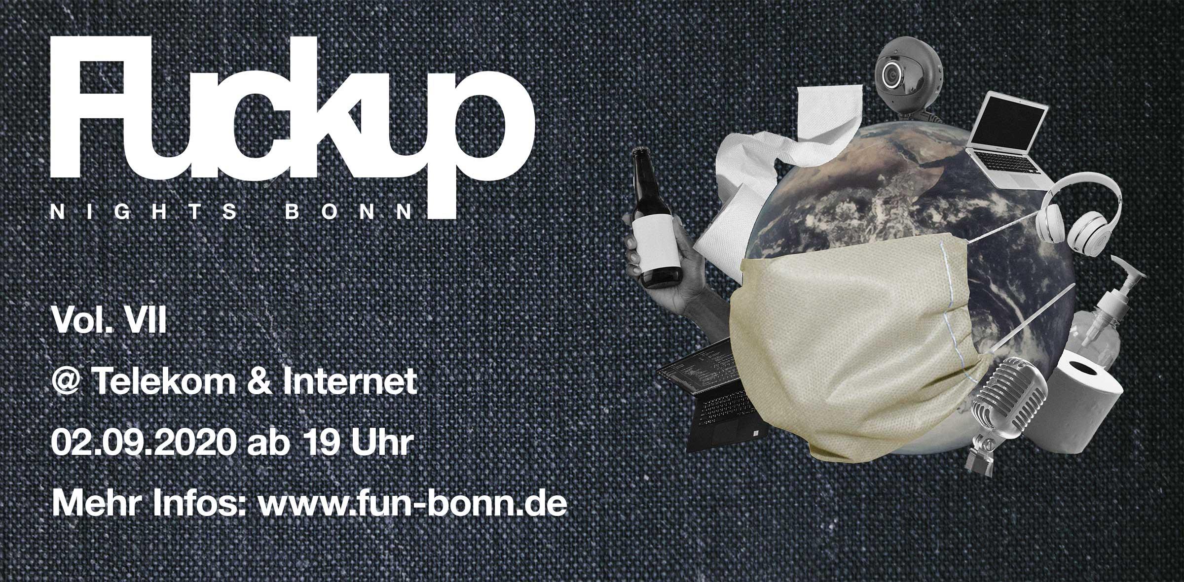FuckUp Nights Bonn 7 am 2. September 2020 ab 19 Uhr bei der Telekom und im Internet.
